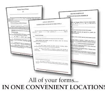 simple corporate minutes forms